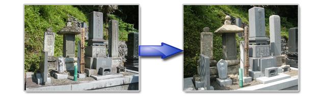 苔生した墓石